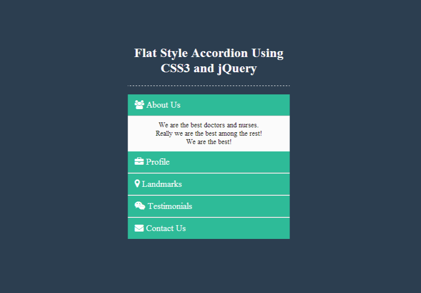 creating a flat style accordion using css3 and jquery