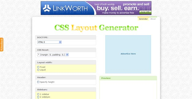 css layout generator