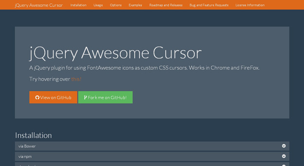jquery awesome cursor