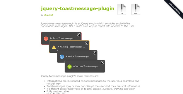 jquery toastmessage plugin