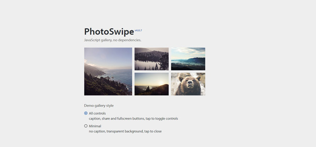 PhotoSwipe is a HTML/CSS/JavaScript based image gallery specifically targeting mobile devices. It is inspired by the iOS photo viewer and Google images for ...