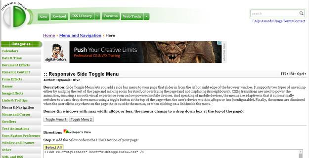 responsive toggle menu