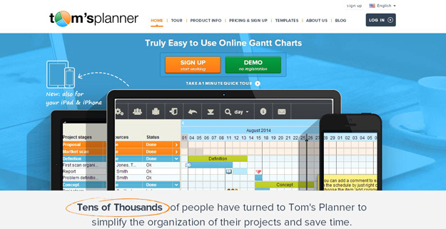 Toms Planner Is Online Gantt Chart Software That Allows Anyone To Create Collaborate And Share Charts With Drag Drop Simplicity