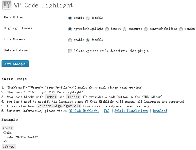 wp code highlight