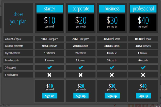 Best html css3 responsive pricing table templates code geekz for Table design html5 css3