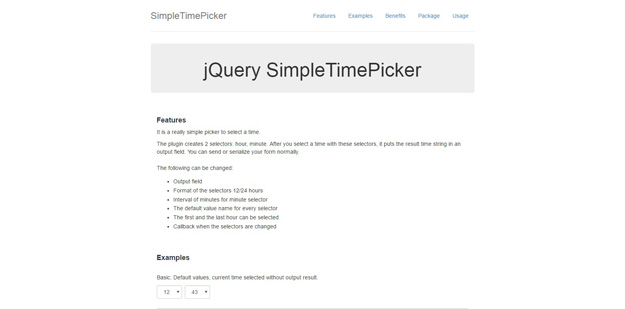jquery simple time picker