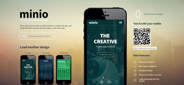 20 best html5 mobile templates code geekz minio mobile is a mobile htmlcss template that will help you create a mobile website a mobile web app or a native app integrated with solutions like maxwellsz
