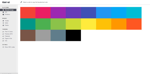 Tint UI Is A Color Picker Tool With Official Palettes Like Material Design IOS Flat Colors And Windows